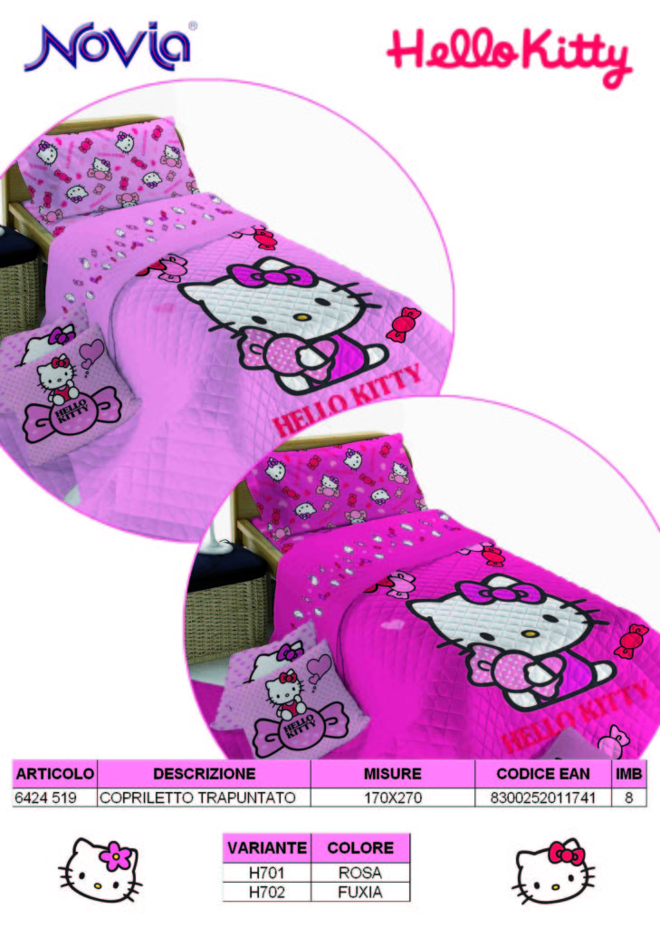 Copriletto Trapuntato Traputino Hello Kitty Rosa Originale