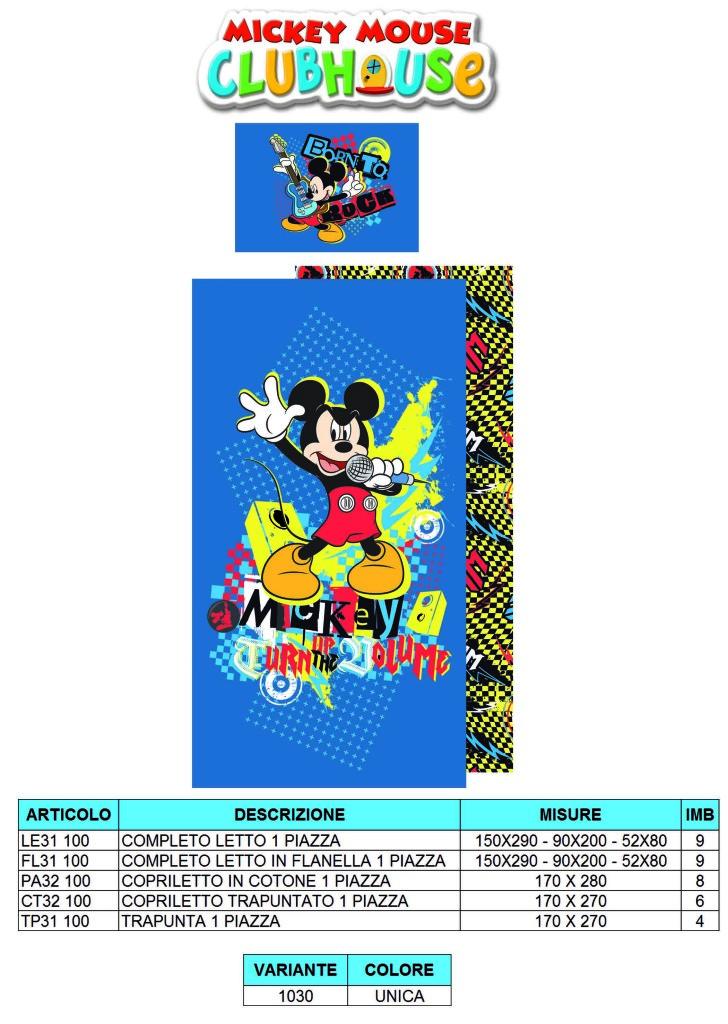 trapunta topolino, completo letto topolino, lenzuola topolino, mickey mouse