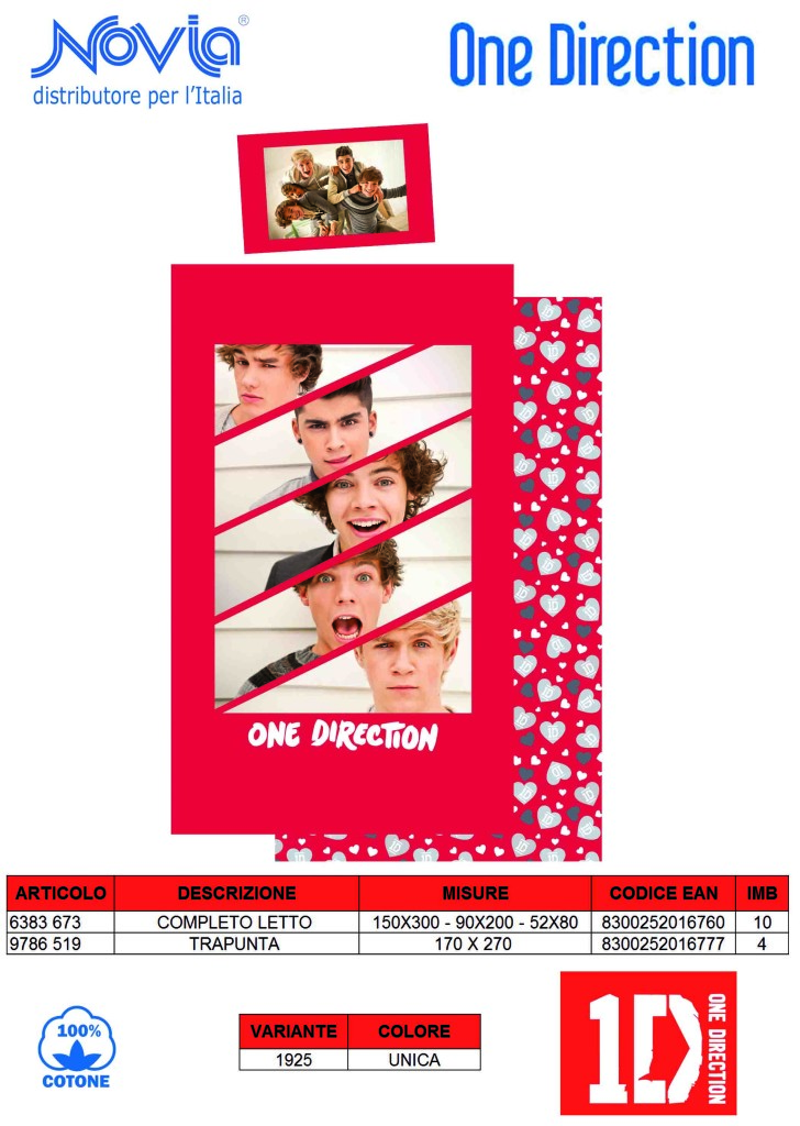 trapunta one direction, completo letto one direction, letto one direction, lenzuola one direction
