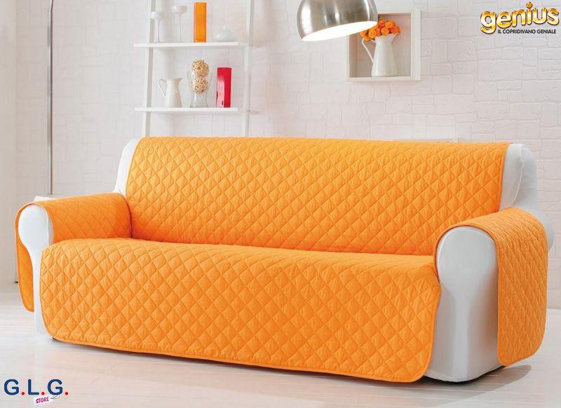 Copridivano genius natural in puro cotone e trapuntato - Copridivano per divani reclinabili ...