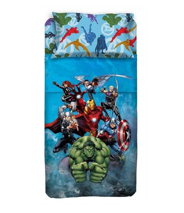 Completo Lenzuola Avengers Marvel Iron Man, Hulk, Capitan America, Thor - Novia Italia