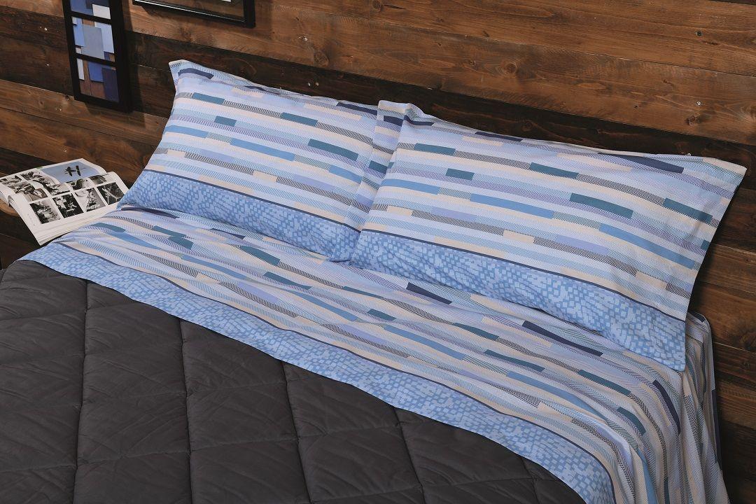 Completo Lenzuola Biancaluna Tramonti Cervia azzurro