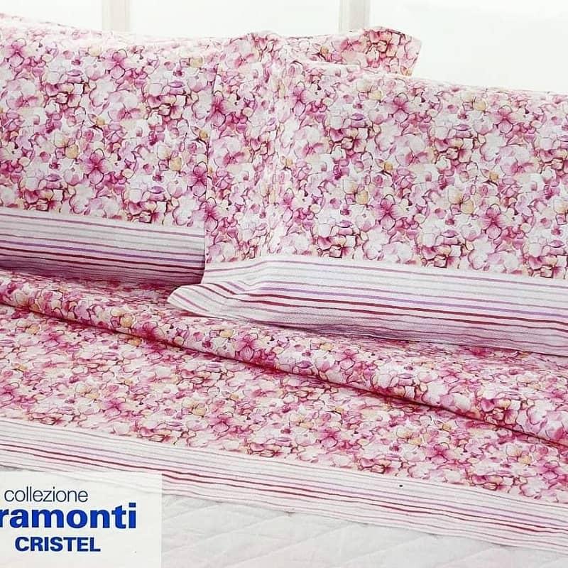 Completo Lenzuola Biancaluna Tramonti Cristel ROSA 8300